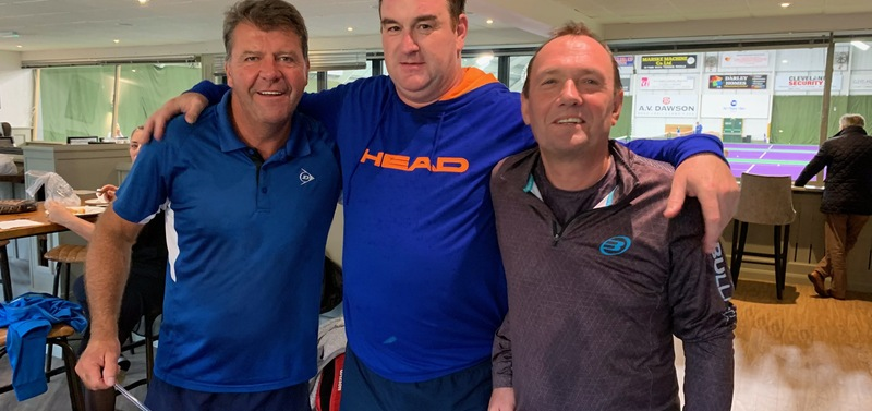 Middlesbrough Padel Club's Nigel Garton & Phil Caswell with Geoff Wingfield of Stratford Padel Club